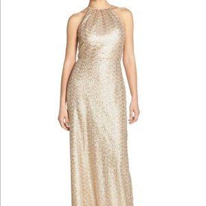 Gold sequin amsale bridesmaid dress